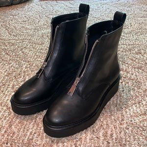 NWOT Black zip up combat boots